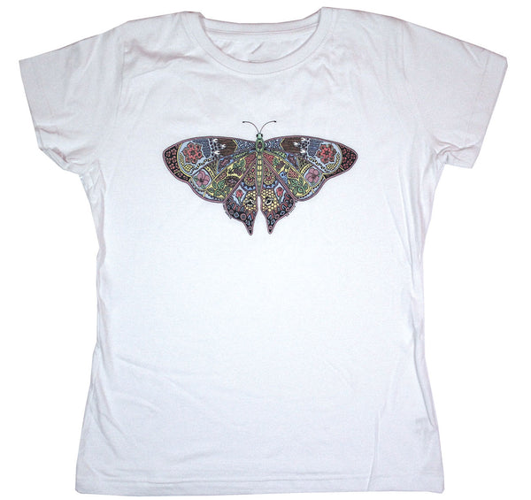 Earth Art Butterfly LAT Ladies Fitted White T-shirt