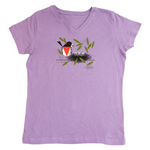 Charley Harper's Rose-breasted Grosbeak Premium V-neck Ladies Lavender T-shirt