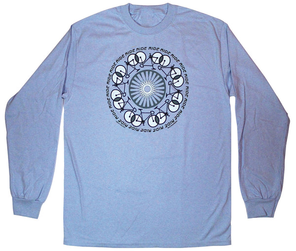 Ride, Ride, Ride Long Sleeve Adult Light Blue T-shirt