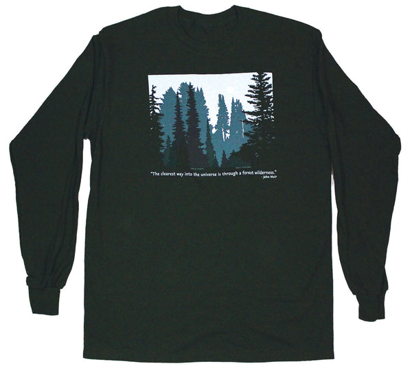 Forest Wilderness Long Sleeve Adult Forest Green T-shirt