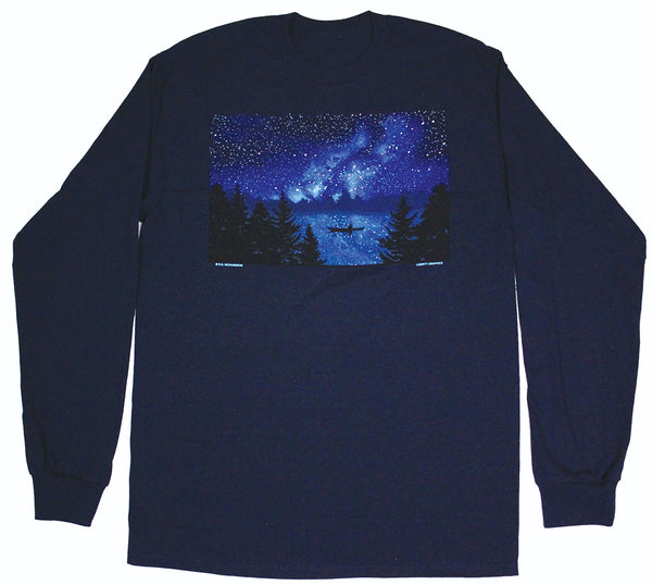 Night Kayaker Long Sleeve Adult Navy T-shirt