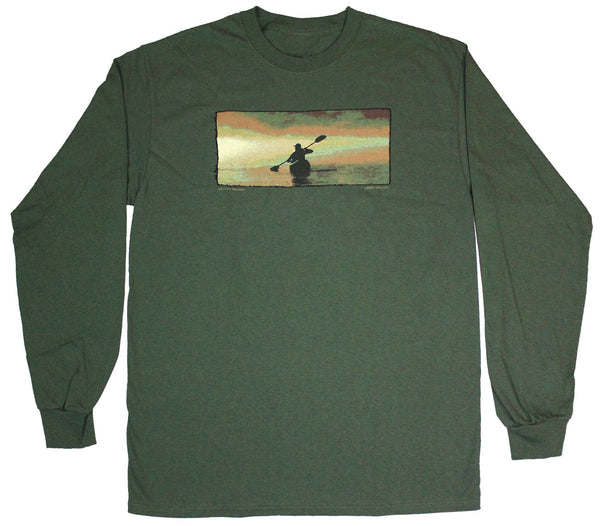 Dawn Kayaker Long Sleeve Adult Olive Green T-shirt