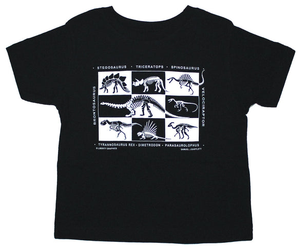Dinosaur Skeletons Toddler Black T-shirt