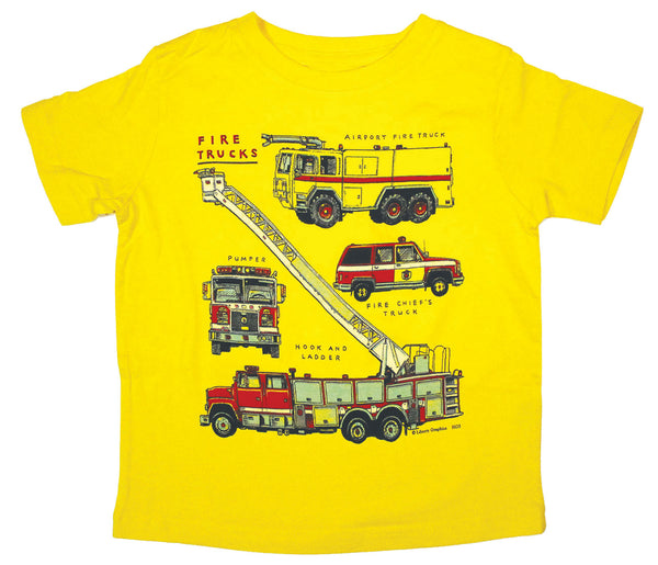 Firetrucks Toddler Yellow T-shirt