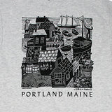 Maine Waterfront w/Portland Maine Adult Ash Gray T-shirt