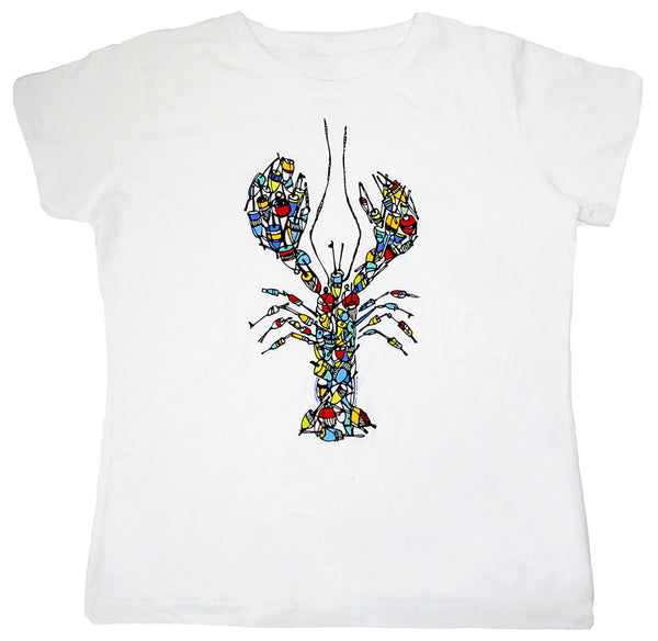 Buoy Pile Lobster Ladies White T-shirt