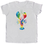 Tie Dye Lobster Ladies White T-shirt