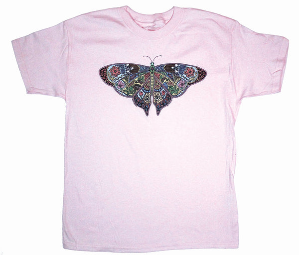 Earth Art Butterfly Youth Frost Pink T-shirt
