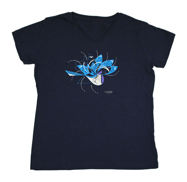 Charley Harper's Bluejays Bathing Premium V-neck Ladies Navy T-shirt