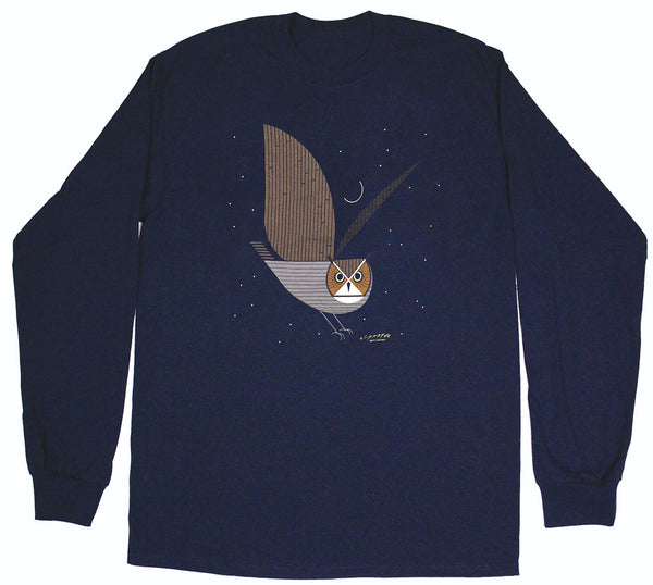 Charley Harper's Great Horned Owl Adult Navy Long Sleeve T-shirt