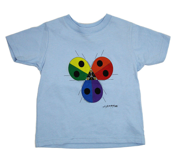 Charley Harper's Ladybug Rainbow Toddler Light Blue T-shirt