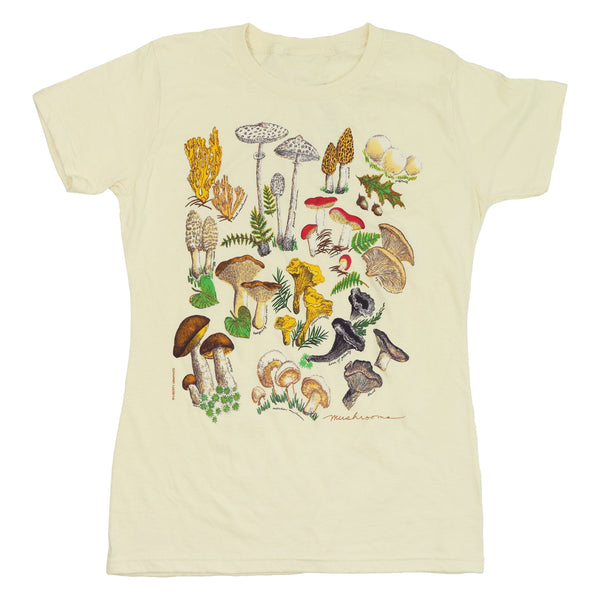 Mushrooms Ladies Natural Organic T-Shirt