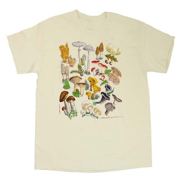 Mushrooms Adult Natural T-shirt