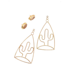 Cardón Earring Drops with Moonstone Studs