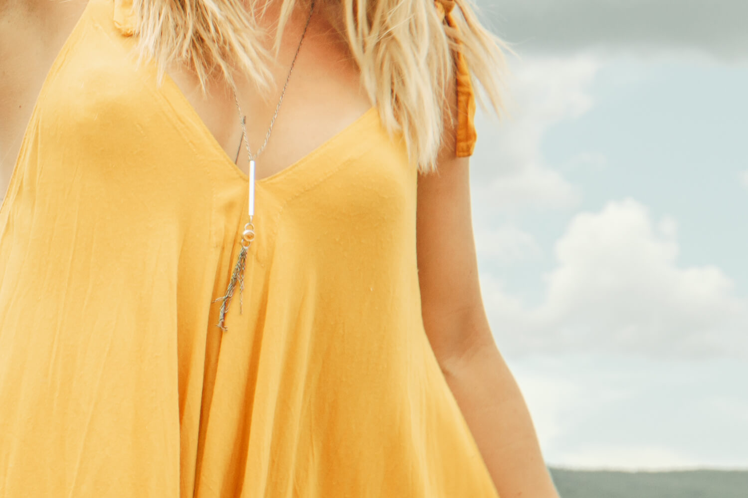 Adjustable Tassel Necklace With Citrine