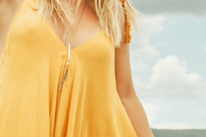Open image in slideshow, Adjustable Tassel Necklace With Citrine