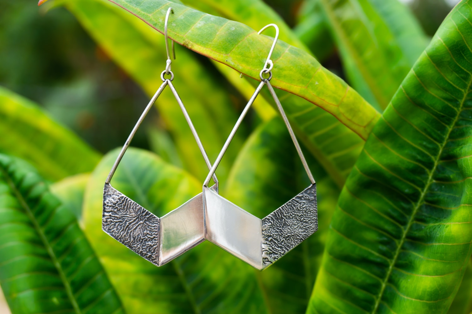 Duo-Tone Chevron Earrings