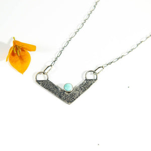 Open image in slideshow, Small Chevron Pendant with Turquoise