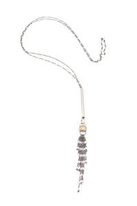 Adjustable Tassel Necklace With Ruitilated Quartz