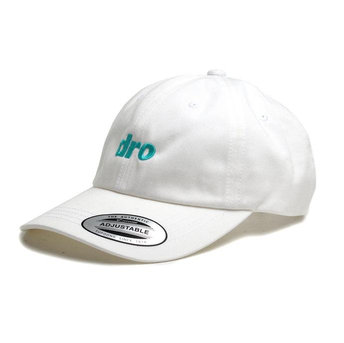 DRO White Dad Hat Blue Logo
