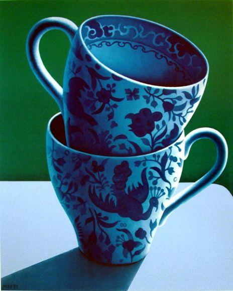 Two Blue and White Cups -  Second Edition