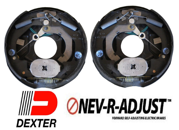 "2- 10"" Dexter 3500 Nev-R-Adjust Electric Trailer Brake Never Adjust Pair Self (23-468 + 23-469)"
