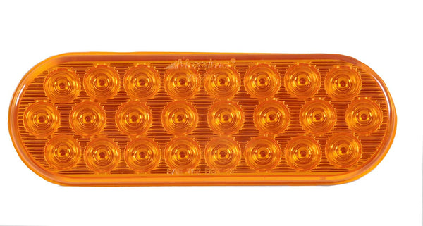"1 - Maxxima 6"" Oval Amber Lens Amber Lights 24 LED Warning Flasher Emergency Light (M63201Y)"