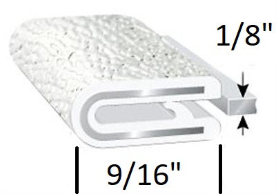 "1 FT - 1/8"" White Edge Trim Lock RV Camper Rubber Seal Lok (TS100W-8)"