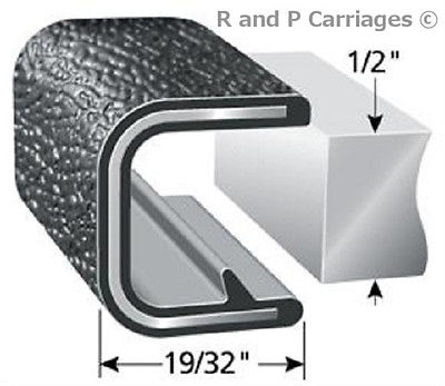 "1 FT - 1/2"" Black Vinyl Edge Trim Lok Camper Trailer RV Seal Lock (TS1375B-2)"