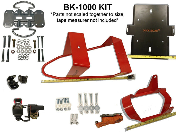 (BK-1000) Lock 'N Load Motorcycle Wheel Chock with Ratchet Strap TieDown Manual Tightening