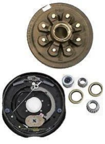 "Replace Right Trailer Brake Dexter 8x6.5 Drums 9/16 Nuts 7000# 12"" Backing Plate (821913-B-DEX-R)"
