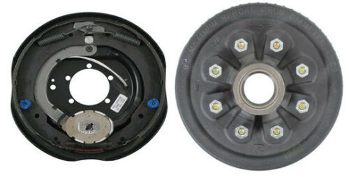 "Replace Left Trailer Brake Dexter 8x6.5 Drums 9/16 Nuts 7000# 12"" Backing Plate (821913-B-DEX-L)"