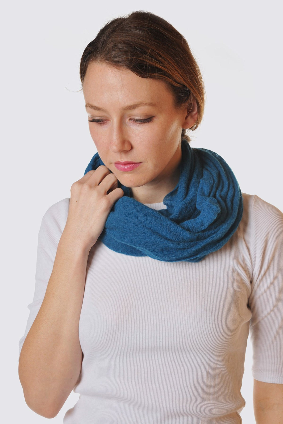 Teal Cashmere Tube Scarf by Botto Giuseppe