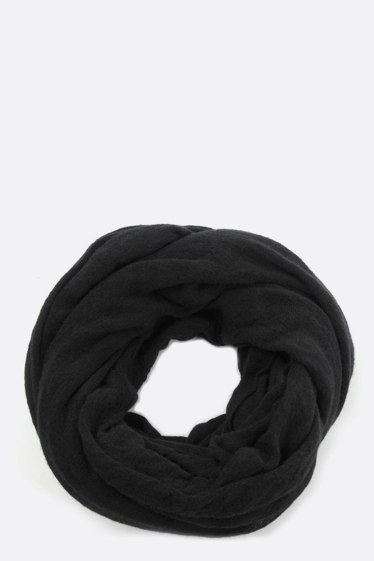 Thick Black Cashmere Tube Scarf by Botto Giuseppe