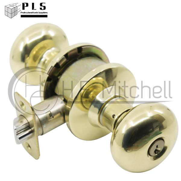 PLS K353P US3 SC Entry Knob, Bright Brass, Sch, Ka2, Adj Latch, Grade 3 PLS