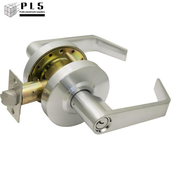 PLS L253 26D Grade 2 Entry Door Lever, Schlage C, 2-3/4 Backset, Brushed Chrome PLS