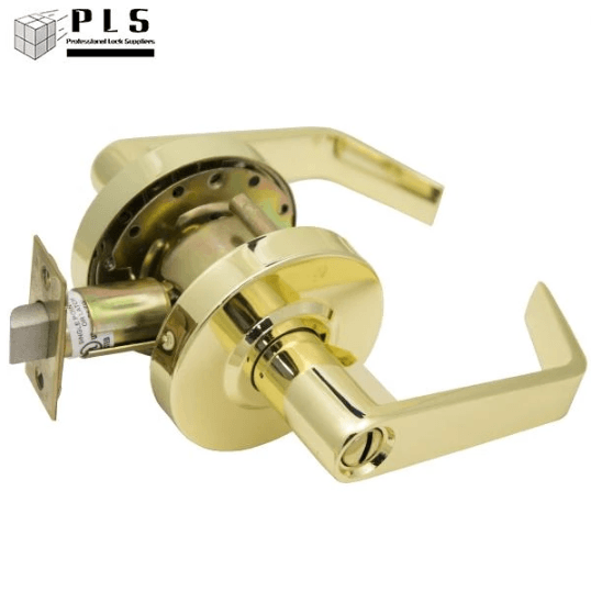 PLS L253IC US3 Grade 2 SFIC Entry Door Lever Bright Brass