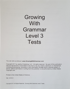 Growing With Grammar, Level 3, Tests