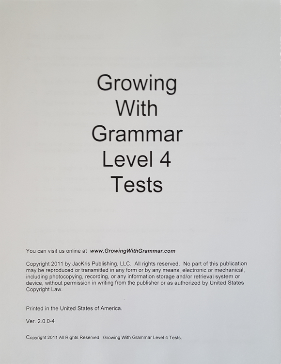 Growing With Grammar, Level 4, Tests