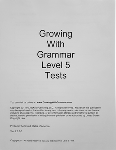 Growing With Grammar, Level 5, Tests