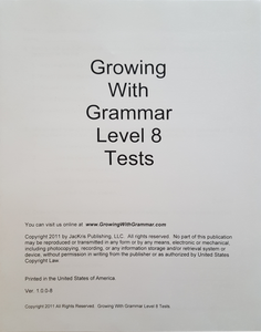 Growing With Grammar, Level 8, Tests