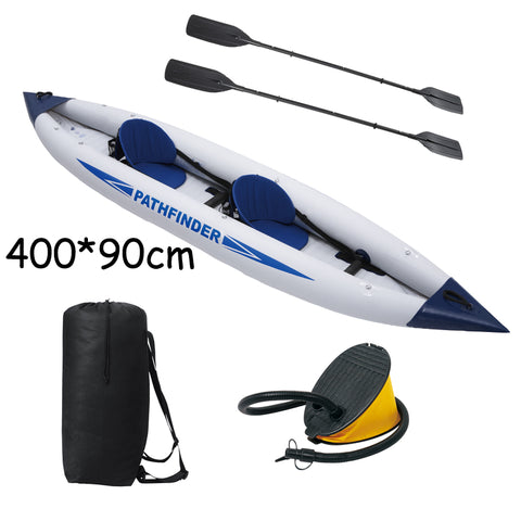 Hot Sale 2 person pathfinder canoe inflatable boat 400*90cm, include foot pump, plastic oars,2 seats. inflatable canoe