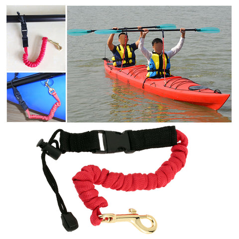 1pc 43 - 112cm Kayaking Paddle Leash 3 Colors Canoe Rafting Elastic Paddle Leash Lanyard Rope Metal Hook Survival Paracord