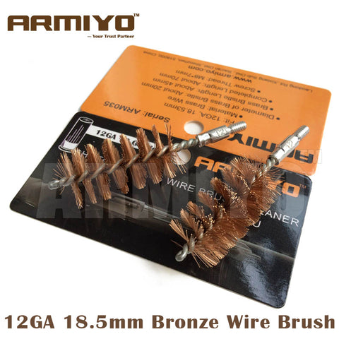 Armiyo 12GA 12 Gauge 18.5mm Cleaner Bronze Wire Barrel Cleaning Brush Screw Thread Size 8-32 Shot Hunting Gun Accessories