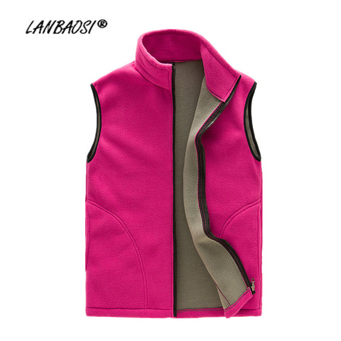 LANBAOSI Thick Fleece Vest for Women Waistcoat Zipper Fly Pockets Winter Autumn Warm Thermal Soft Vests chalecos mujer Plus Size
