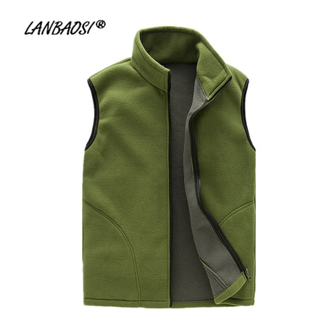 LANBAOSI Thick Fleece Vest for Men Waistcoat Zipper Fly Pockets Winter Autumn Warm Thermal Soft Vests Plus Size homens colete