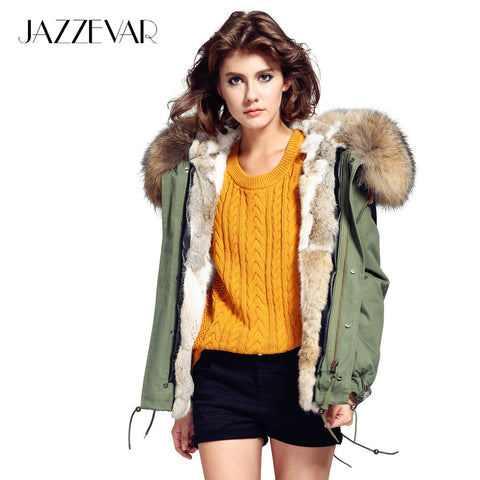 JAZZEVAR Fashion woman army green Large raccoon fur collar hooded coat parkas outwear detachable rabbit fur lining winter jacket