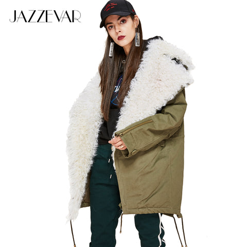 JAZZEVAR 2017 New FashionWomen's real lamb fur large turn-down collar Coat Military Parkas casual Outwear oversize Winter Jacket