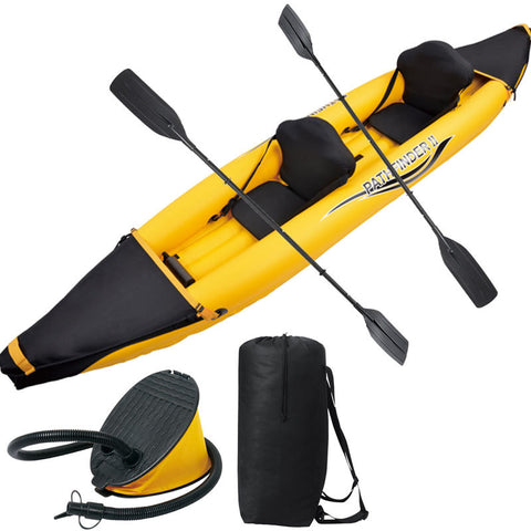 Pathfinder 2 preson inflatable sport boat 376*77*34CM 2 pair 221cm Aluminium oars air pump repair kit.kayak canoe boat B0002