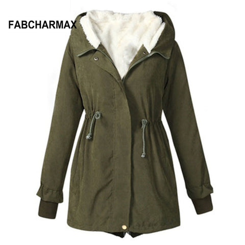 FABCHARMAX black army green women winter coats and jackets plus size cotton warm fur hooded jacket outerwear brand coats women